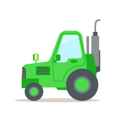 Green tractor heavy agricultural machinery vector