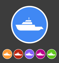 Expedition boat yacht icon flat web sign symbol vector