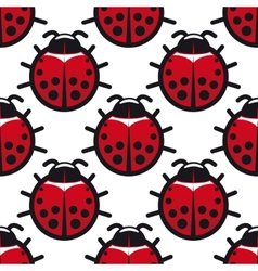 Seamless background pattern of ladybugs vector image