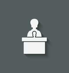 Woman on podium with microphone vector