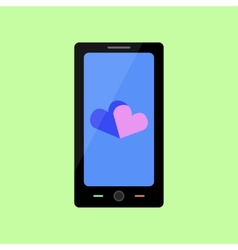 Flat style smart phone with hearts vector