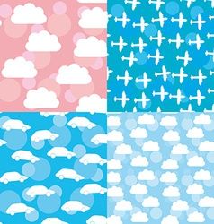Seamless pattern set sunset sunrise sky clouds vector