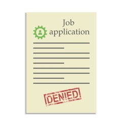 Job application with denied stamp vector