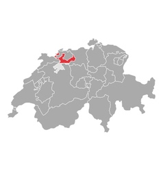 Map of switzerland with flag of solothurn vector