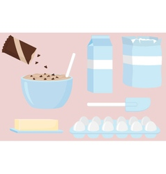Baking ingredients for chocolate chip cookies vector
