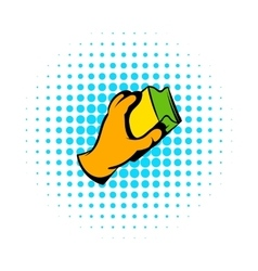 Hand in gloves with rag icon comics style vector