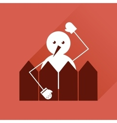 Flat web icon with long shadow snowman vector