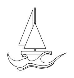 Yacht icon in outline style vector