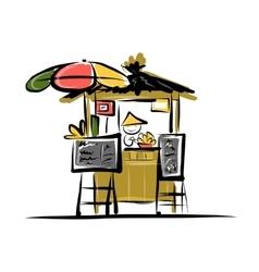 Asian retail seller on street market sketch for vector image