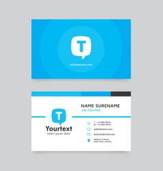 Blue speech bubble business card vector