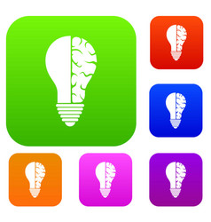 brain lamp set color collection vector image