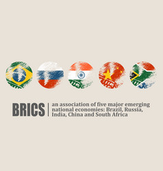 Brics union members national flags vector