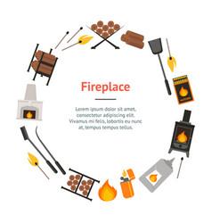 cartoon fireplace banner card circle vector image
