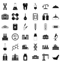 Chemical molecule icons set simple style vector