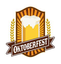 classic oktoberfest festival emblem badge design vector image
