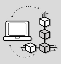 Concept line icon computer internet connection vector
