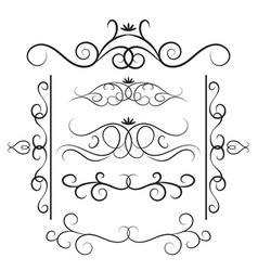 decorative curls and swirls set vector image