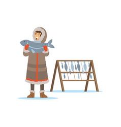Eskimo inuit chukchi man character in vector
