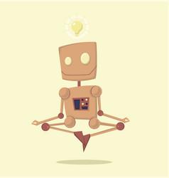 funny cartoon meditating robot with idea vector image