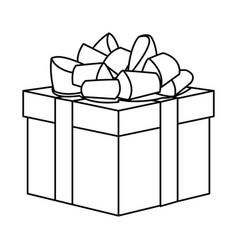 gift box present decoration line vector image