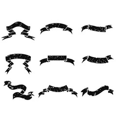 grunge black banner set vector image