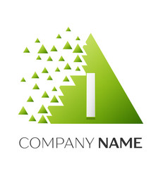 Letter i logo symbol in colorful triangle vector
