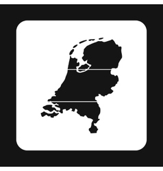 Map of the Netherlands icon simple style vector image vector image