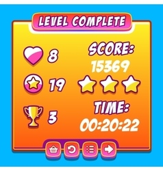 Orange game level complete interface panels ui vector