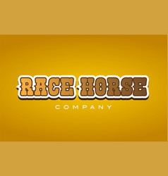 Race horse western style word text logo design vector