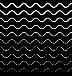 seamless pattern black and white wavy lines vector image vector image