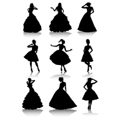 Set of various beautiful model girls in dress vector image vector image