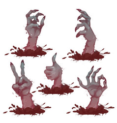 Set of zombie hands for halloween party vector