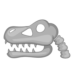 Skull of dinosaur icon gray monochrome style vector image