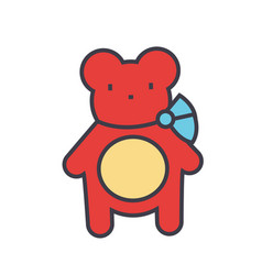 Teddy bear concept line icon editable vector