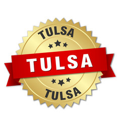 Tulsa round golden badge with red ribbon vector