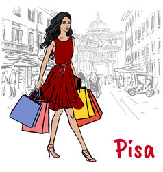 woman in pisa vector image vector image