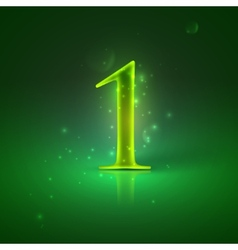 1 Green glowing number one vector image