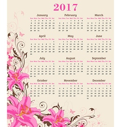 Calendar for 2017 year vector