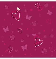 Seamless pattern with hearts and butterflies vector