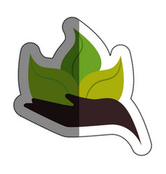 Hand human with leafs plant isolated icon vector