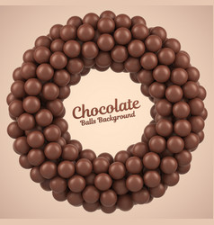 Chocolate balls round frame with place for your vector