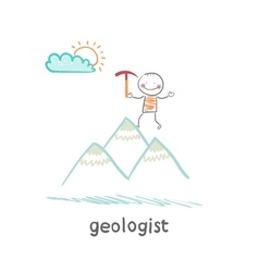 Geologist stands on the hill vector