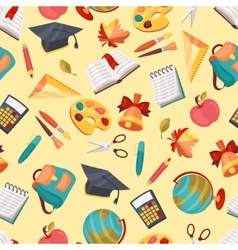 School seamless pattern with education icons and vector
