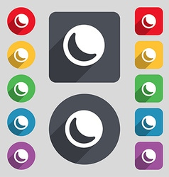 Moon icon sign a set of 12 colored buttons and a vector