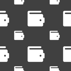 Purse icon sign seamless pattern on a gray vector