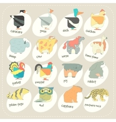 Flat design animals icon set zoo children vector