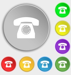 Retro telephone icon symbol symbols on eight flat vector