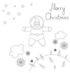 Santa is flying in space above the earth vector image