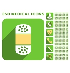 Plaster icon and medical longshadow icon set vector