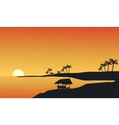 Silhouette of beach at morning vector